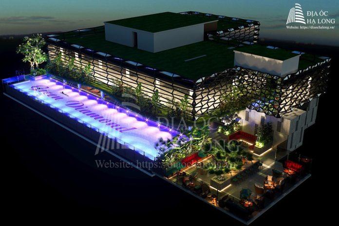 Bể bơi vô cực và skybar tầng 36 dự án. Chung cư Handico 6 Hạ Long - Green Diamond Hạ Long